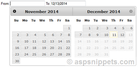 Start Date should be less than End date validation in jQuery DatePicker