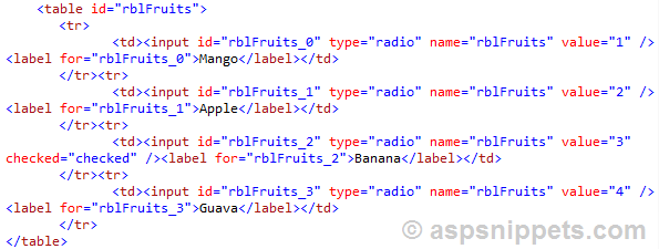 Set Selected Item based on Text or Value of RadioButtonList using jQuery in ASP.Net