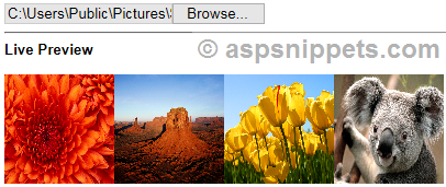 Preview multiple image files before upload when selected in